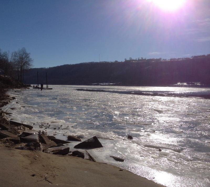 Ice glistened on the Ohio River
