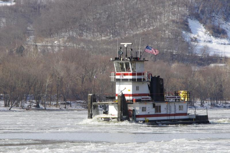 The Anderson Ferry ws closed but a Towboat came through