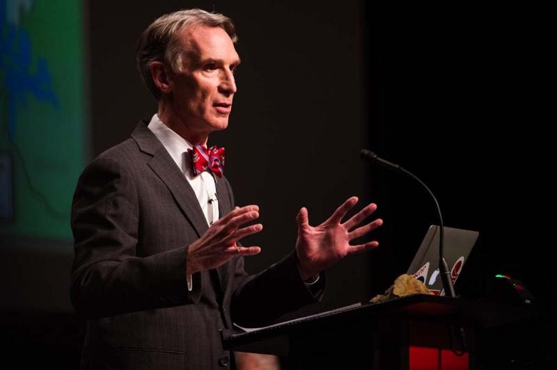 Science educator and Tv personality Bill Nye making a point during debate