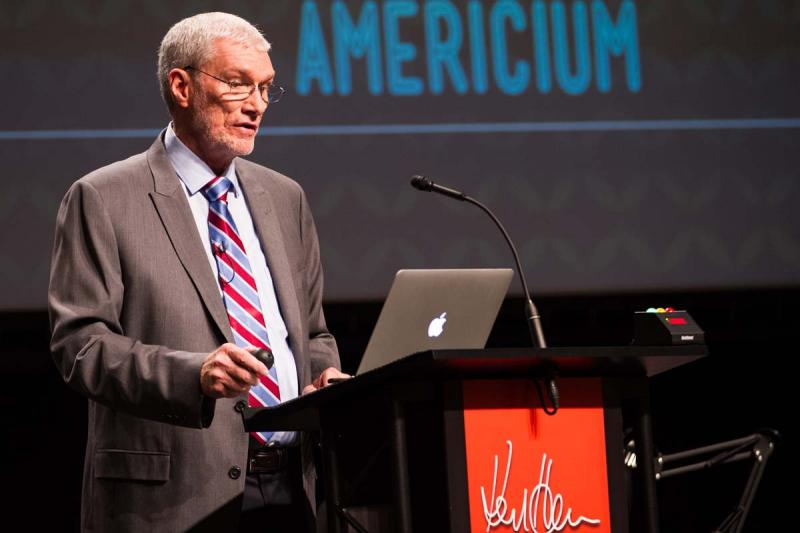 Creation Museum founder Ken Ham making a point during debate