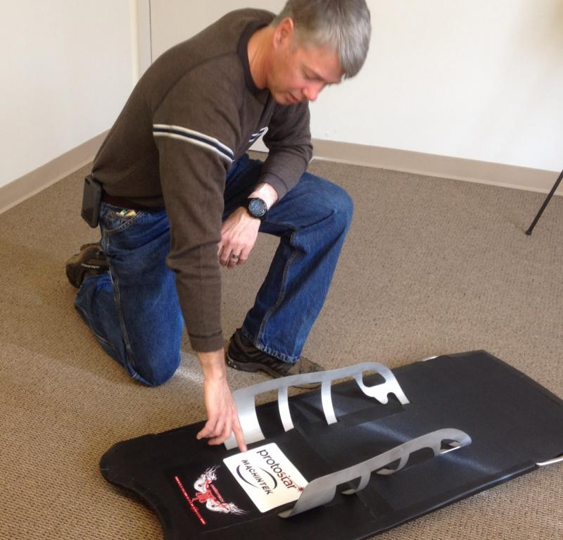 Dr. Grant Schaffner showing off the ProtoStar V5 skeleton sled