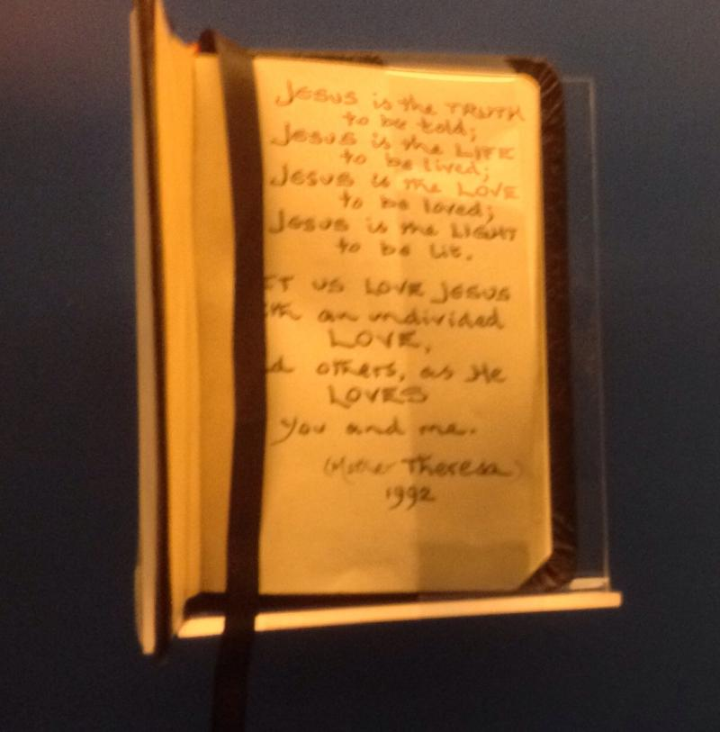 Prayer book given to Diana signed Mother Theresa