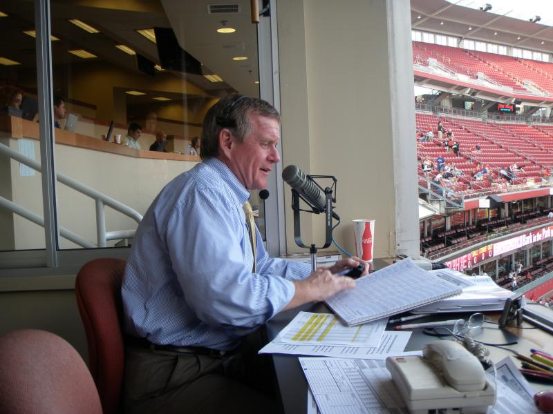 "Reds' PA Announcer, Joe Zerhusen, hard at ""work"" at Great American Ball Park"