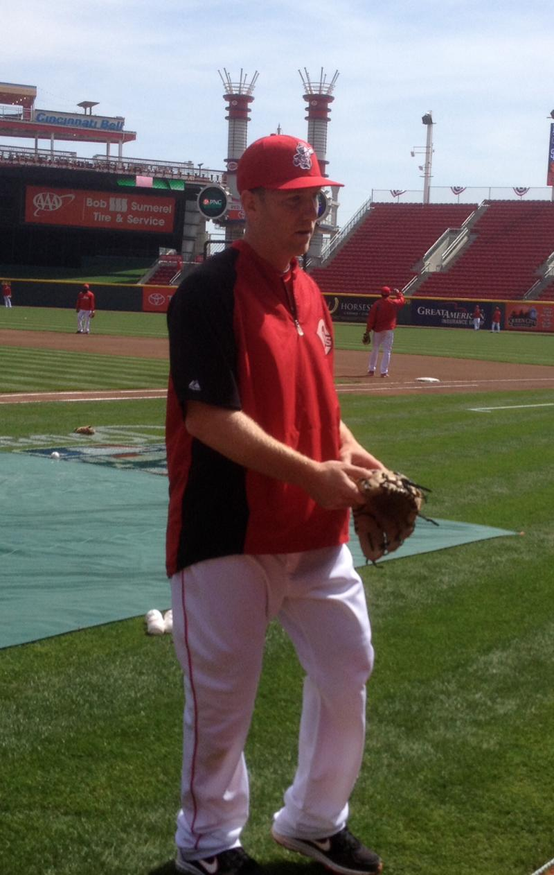 3rd baseman Todd Frazier after batting practice Opening Day 2014