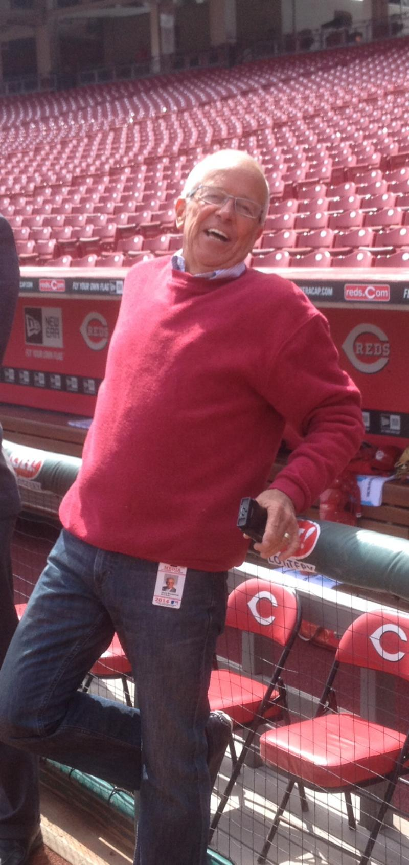 Reds announcer Marty Brennaman who is entering his 41st season calling games for the Reds spends a little time on the field at GABP before the game
