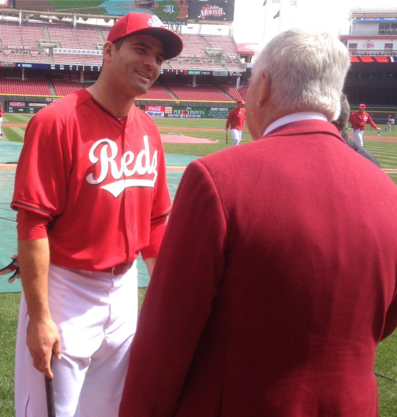 !st baseman Joey Votto chats with CEO Bob Castellini before the Opening Day game 2014