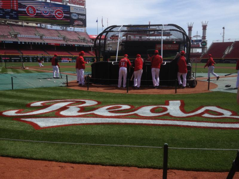 Batting practice at Great American Ball Park , Opening Day 2014