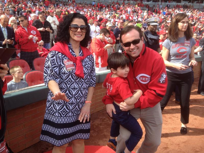 Cincinnati Mayor John Cranley served as honorary captain of the game. He brought the family along for some fun.