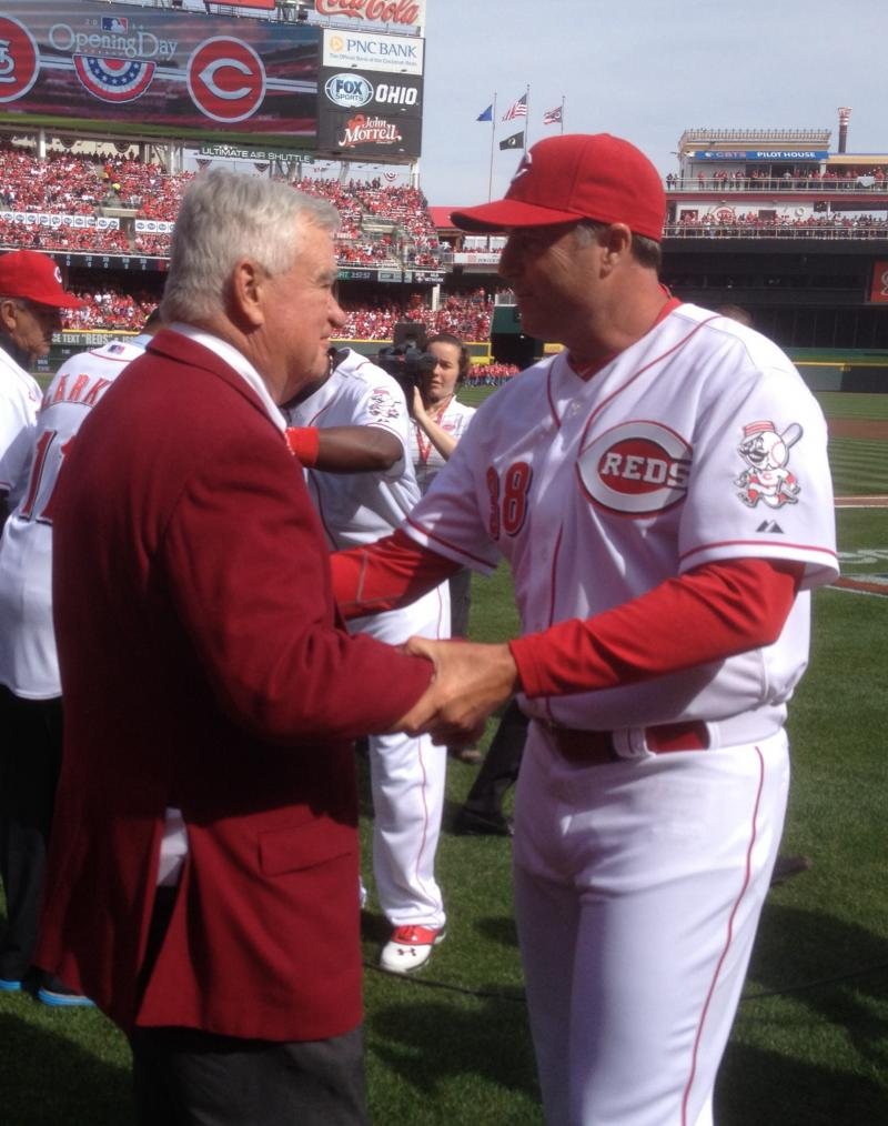 CEO Bob Castellini and Manager Bryan Price before the game