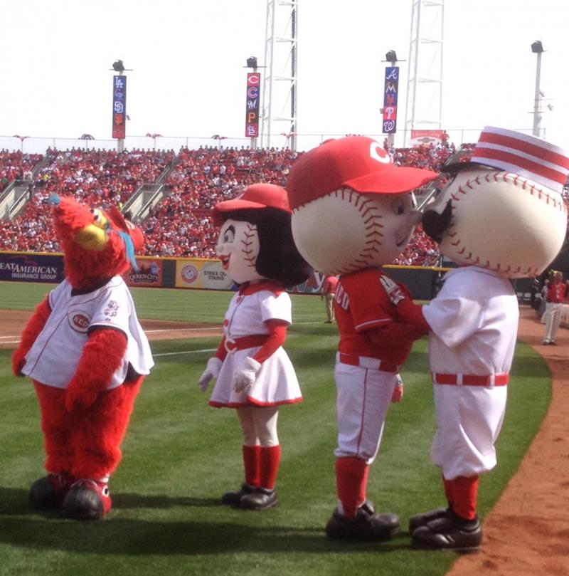 Reds mascots get ready for Opening Day 2014 at Great American Ball Park