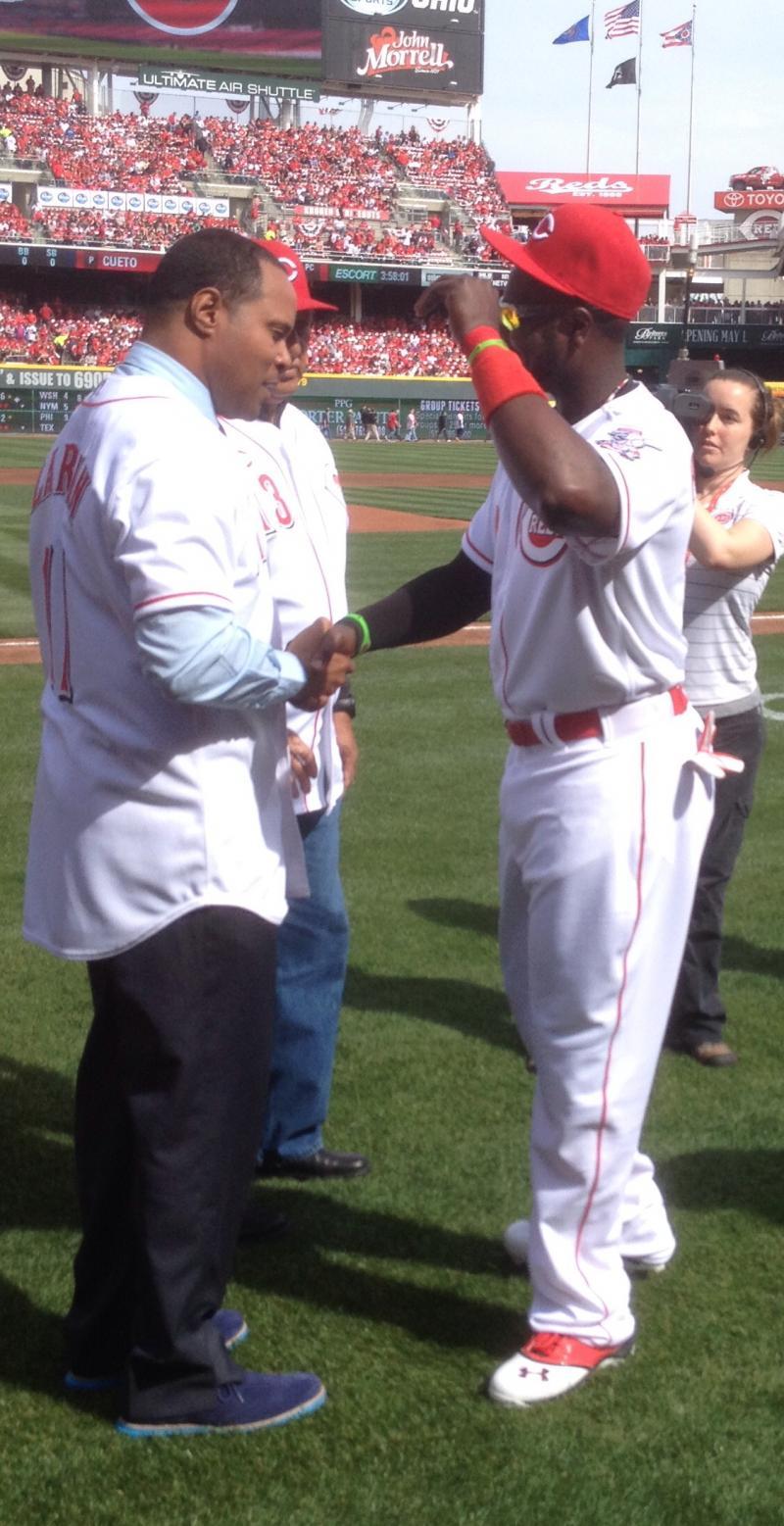 Former Cincinnati Reds great and Baseball Hall of Famer Barry Larkin with 2nd baseman Brandon Phillips