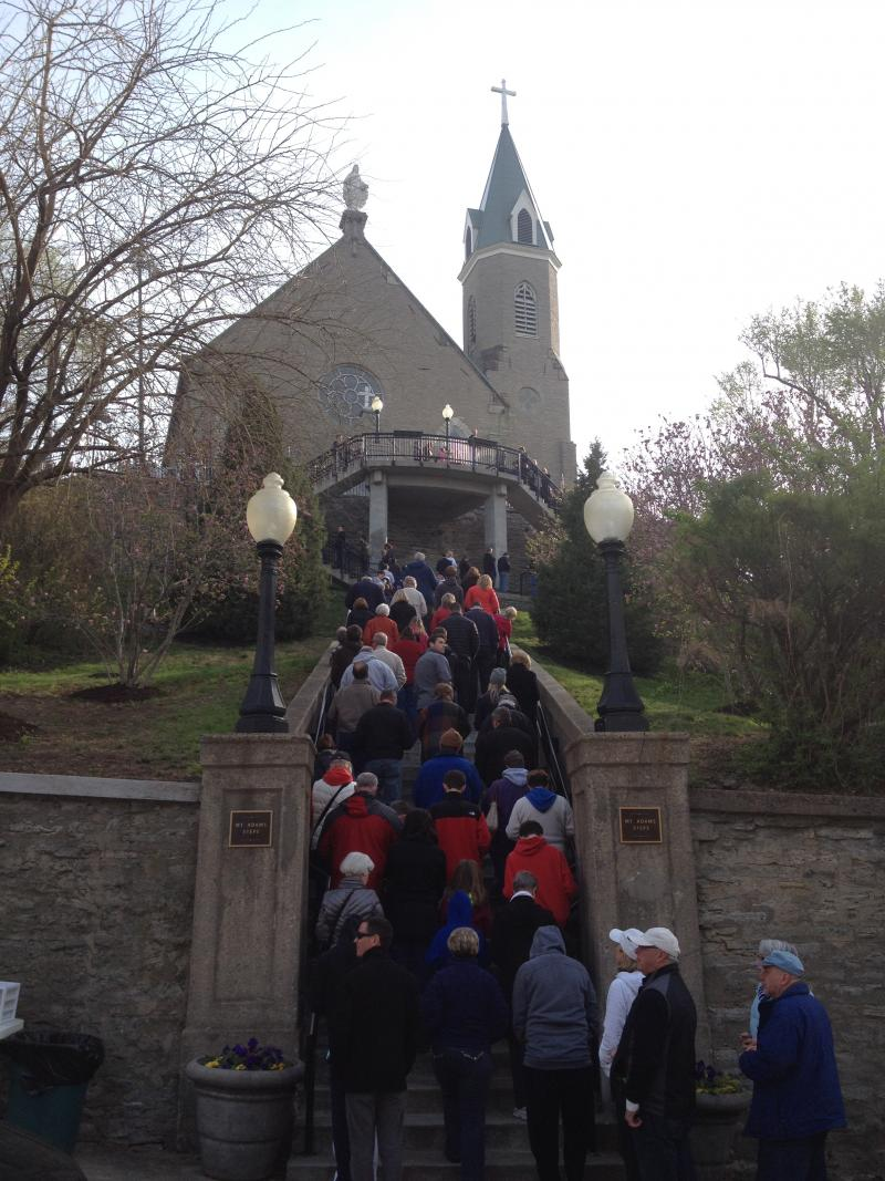 Praying the Steps on Good Friday to Holy Cross-Immaculata in Mt. Adams