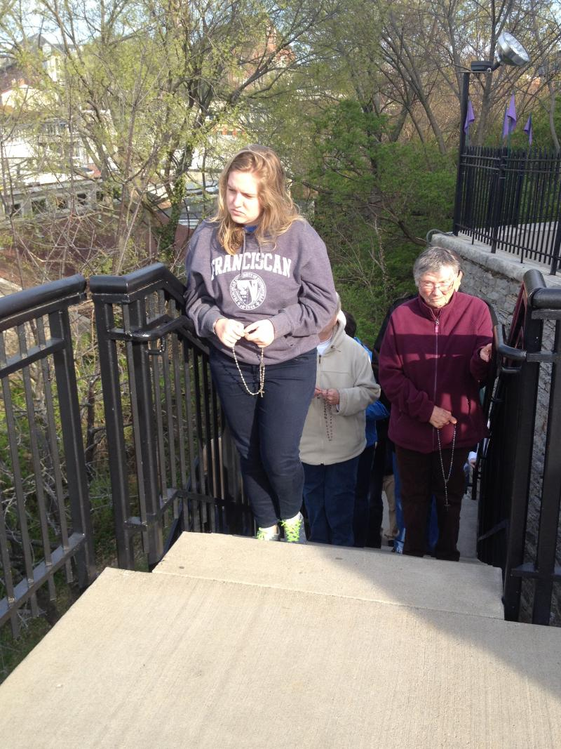 Praying the Steps was a first for 18 yr. old Caroline Reel