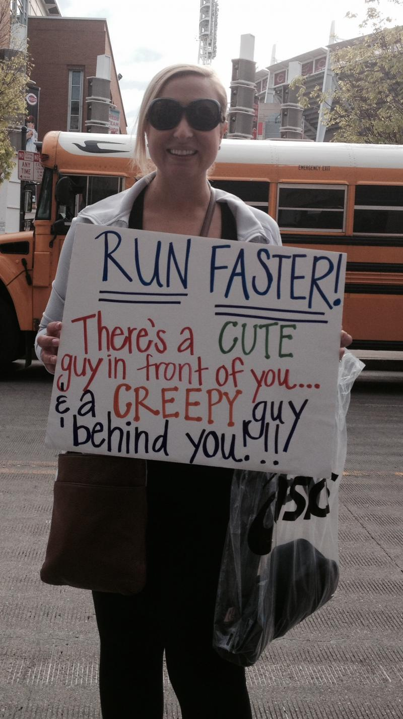 Signs like this along the route encourage runners