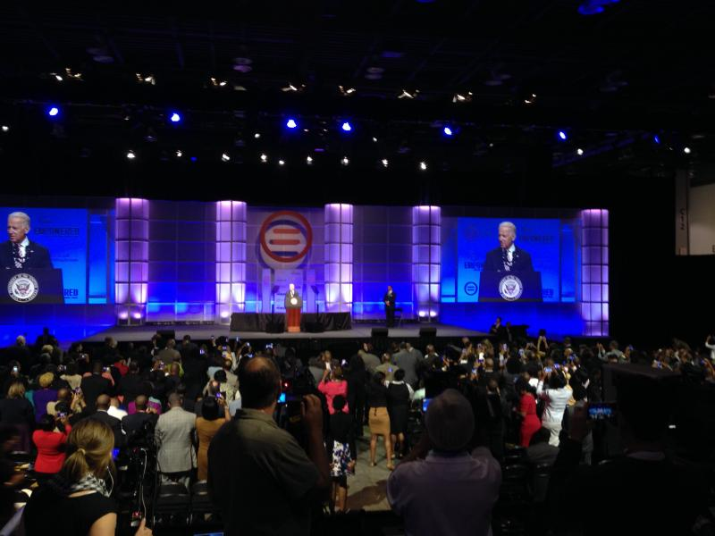 V.P. Biden addresses a crowd at Duke Energy Convention Center during National Urban League Convention