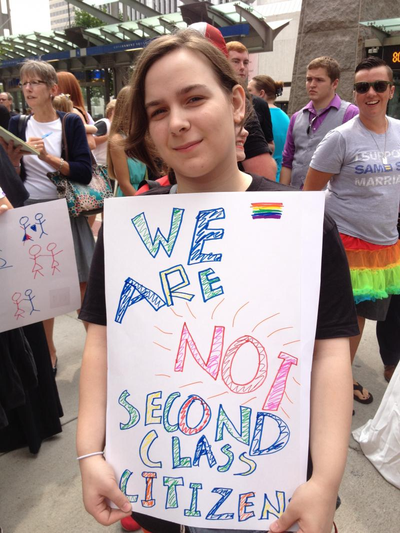 Many Same-Sex Marriage supporters carried signs like these