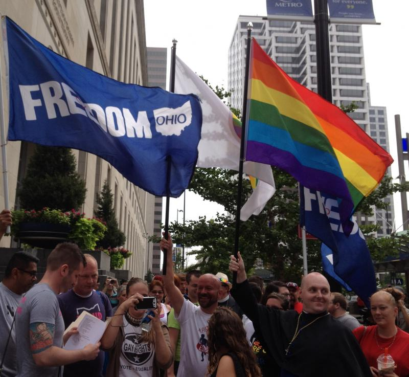 Hundreds of supporters of Same-Sex Marriage rallied near the courthouse
