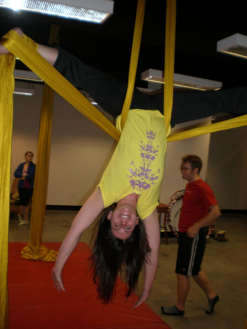 Lisa Schwegman demonstrates her skills on the silks in The Cincinnati Circus Company's Aerial Fitness class at Newport on the Levee