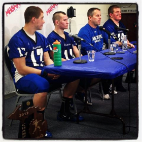 Ishpeming coach Jeff Olson and players speak with the media following their championship win.