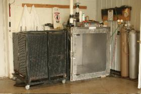 A gas chamber used to euthanize unwanted shelter pets.