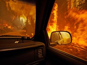 A view of the wildfire in Montana from a vehicle.