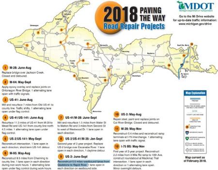 MDOT offers 2018 construction map | WNMU-FM
