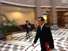 Gov. Dannel Malloy on his way to a meeting of the state's bond commission Friday.