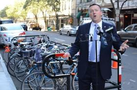 Jim Travers on Thursday unveiled a new bike corral in New Haven.