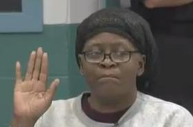 Bonnie J. Foreshaw takes an oath at the start of her clemency hearing Wednesday morning.