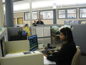 Workers at the Connecticut Department of Labor call center.