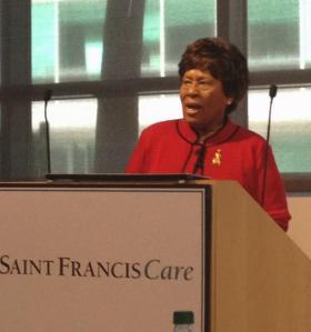 Joycelyn Elders, speaking in Hartford