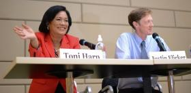 Toni Harp and Justin Elicker at Tuesday's mayoral debate in New Haven.