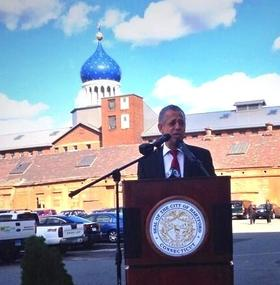 Hartford Mayor Pedro Segarra announced a plan to borrow $5 million and build more apartments at the former Colt factory.