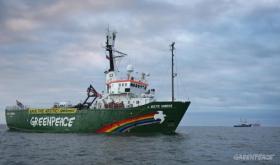 The seized Greenpeace ship Arctic Sunrise.