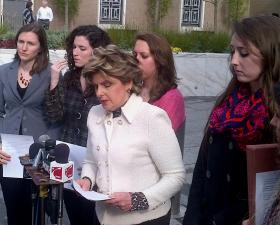 Attorney Gloria Allred in Hartford on Friday. A lawsuit is being filed on Friday in U.S. District Court.