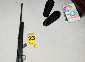 A photo from the Lanza home in Newtown from the summary report of the Sandy Hook Elementary School shooting investigation.