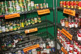 Needy families in Connecticut are depending on the private sector, providing donated food on the shelves, to help make up for benefit cuts.