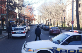 Police blocked off streets in New Haven in the heart of Yale's Old Campus early Monday.