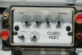 An analog natural gas meter.