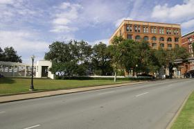 Dealey Plaza in Dallas, the site of the assassination of President John F. Kennedy