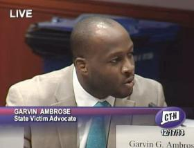 Garvin Ambrose, State Victim Advocate, addresses the task force Tuesday morning.