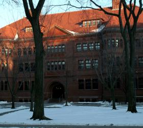 Sever Hall at Harvard University in Cambridge, Massachusetts, one of the buildings evacuated Monday.