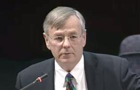 James Redeker speaks before the Connecticut legislature's Transportation Committee on Wednesday.