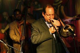 Trombonist Steve Davis with Dezron Douglas.