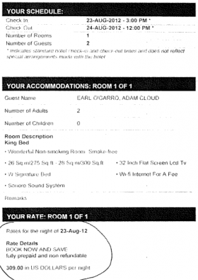 A W Hotel receipt from August 2012 listing Earl O'Garro and Adam Cloud's names.