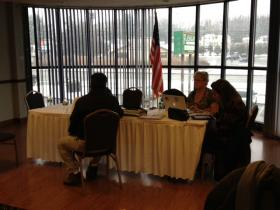 Union negotiators wait at the Olympic Best Western Hotel in Groton.