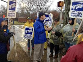 State Senate President Donald Williams joined striking workers at Lawrence & Memorial Hospital last week.