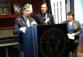 American Legion Post 96 Commander Ken Hungerford with Sen. Blumenthal and Linda Schwartz on Thursday.