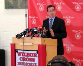 Governor Dannel Malloy at Wilbur Cross High School in New Haven on Thursday.