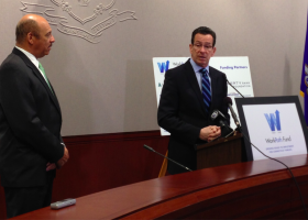Chandler Howard, left, with Governor Dannel Malloy.